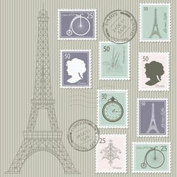 Postage stamps set on stripped grunge paper with silhouette of Eiffel tower. Vector illustration. Can be used for scrapbook, invitation cards, collage design.