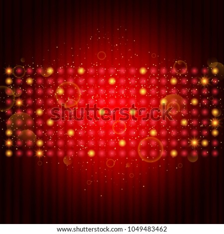 Poster Template with curtain.  Design for presentation, concert, show. Vector illustration