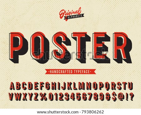 'Poster' Vintage Sans Serif Alphabet with Offset Printing Effect. Retro Textured Typeface. Vector Illustration.