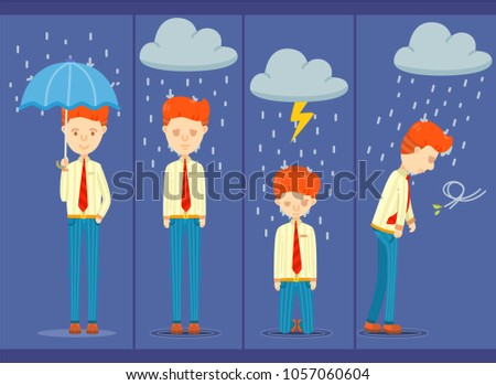 4 posture of businessman on a rainy day, Different feeling of office worker on a rainy day
