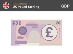 20 Pound sterling banknote. British money. Currency. Vector illustration.