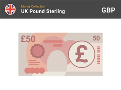 50 Pound sterling banknote. British money. Currency. Vector illustration.