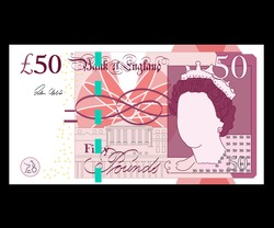 50 Pound sterling banknote. British money. Currency. Vector illustration. - Vector