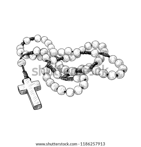 Prayer beads. Hand-drawn vintage drawing of the rosary. Catholic tradition.Vector sketch. Isolated object on white background. Stock photo ©