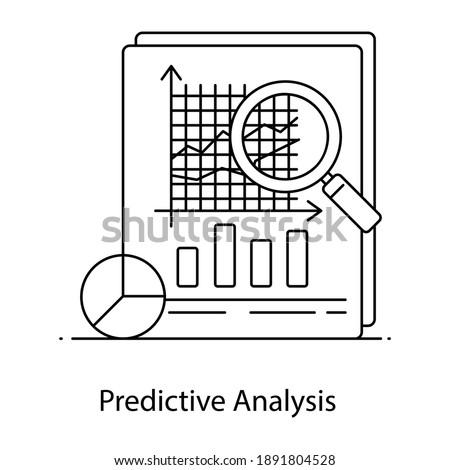 Prediction of forthcoming outcomes, predictive analysis linear icon Сток-фото ©
