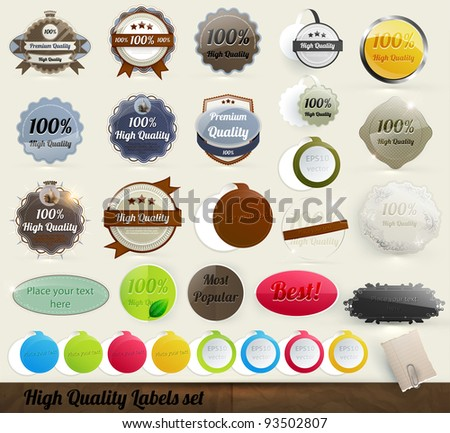 30 Premium and High Quality Labels and frames set. With old paper texture.