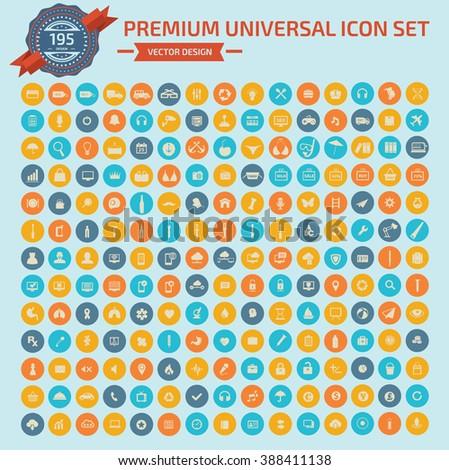 195 Premium Universal Web icon set design,clean vector #388411138