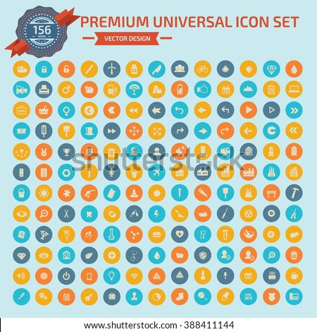 156 Premium Universal Web icon set design,clean vector #388411144