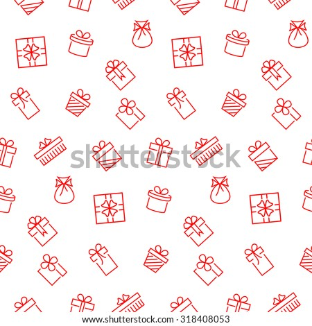 Present seamless pattern. Vector background.
