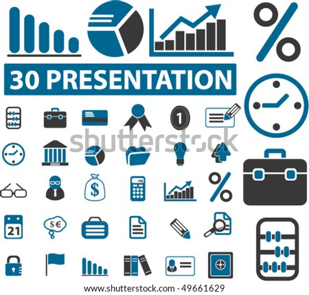 30 presentation business signs. vector