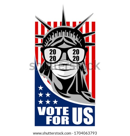 2020 Presidential Election. 2020 United States of America Presidential Election. Vote America Presidential Election Vector Design. Liberty statue Vote For US