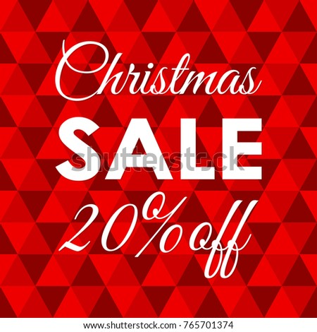 20% price off. Christmas sale banner. Xmas and holiday discount ...