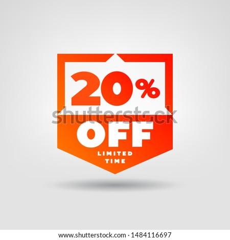 20% Price Tag. Discount 20% OFF Vector Icon. 20% Sale Sticker Ad.
