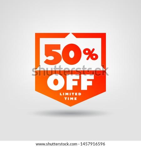 50% Price Tag. Discount 50% OFF Vector Label.  50% Sale Sticker.