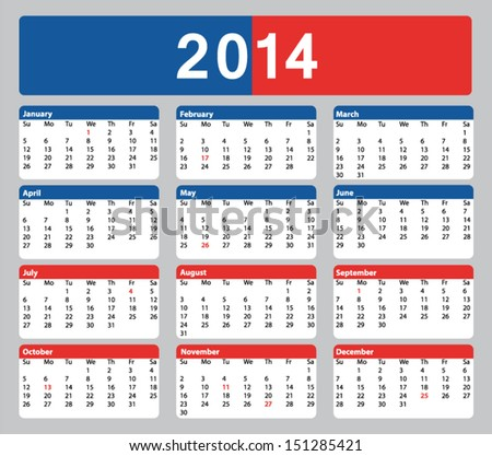 Calendar 2014 Printable With Holidays 2014 printable american
