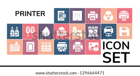 printer icon set. 19 filled printer icons. Simple modern icons about  - Hard disk, Inks, Fax, Hard drive, Cartridge, Printer, Print, Paint drop, Rgb, Ink, Printing, Diskette