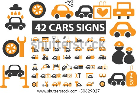 42 professional cars signs. vector - stock vector