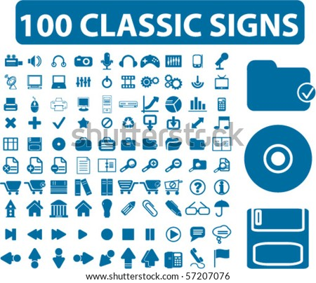 100 professional classic signs. vector