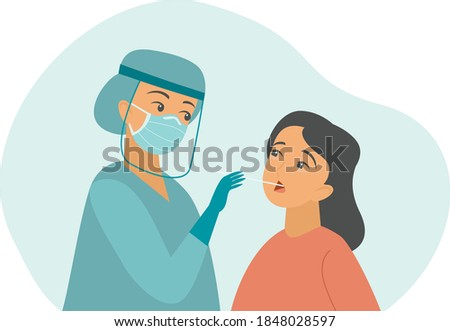professional doctor nurse taking Covid-19 or Coronavirus test or DNA test to a young woman with nasal swab probe. cartoon character flat vector illustration Photo stock ©