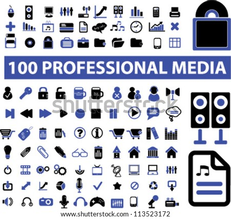 100 professional media icons set, vector