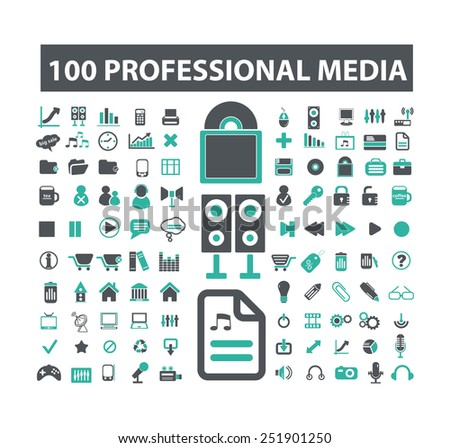 100 professional media office business flat isolated icons signs illustrations vector set on background