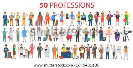 50 professions. Big set of professions in cartoon flat style for children. International Workers' Day, Labour Day Photo stock ©