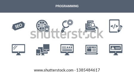 10 programming vector icons such as program error, program interface, programming language, responsive, screen contains script, search, search engine, secu network, seo. programming icons