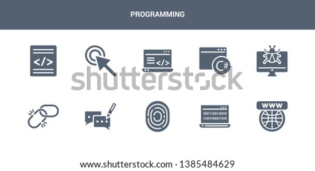 10 programming vector icons such as website, binary code, biometric identification, blogging, broken link contains bug report, c sharp, clean code, click, code. programming icons