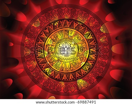 2012 prohecy of the Maya's, showing a Mayan calendar on a hot fiery explosive apocalypse background