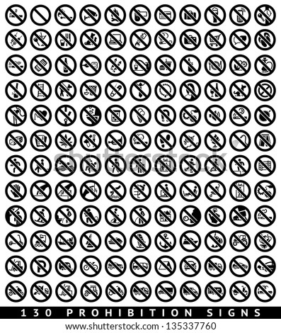 130 Prohibition black signs set, vector illustration