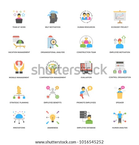 Project Management Flat Design Vector Icons Set