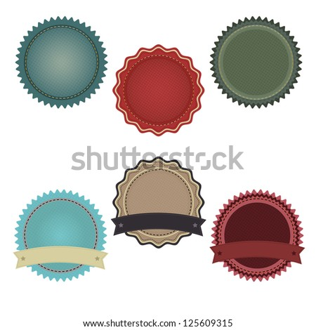 6 Promo Badges With Gradient Mesh, Isolated On White Background, Vector Illustration - stock vector