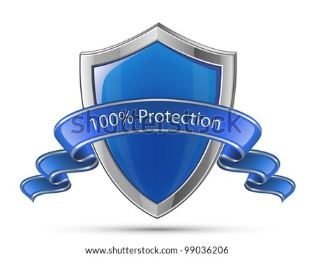 100% Protection concept. Vector illustration of blue glossy shield