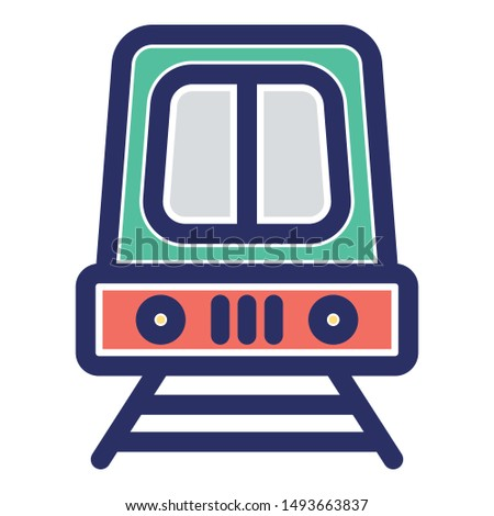 Public train, public transport Vector icon which can easily modify or edit