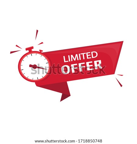 Publication, advertising, promulgation and subsequent offer to obtain a profitable purchase or transaction in a limited time. Countdown for any type of sale or offer.Vector image in red color, alarm  Foto stock ©