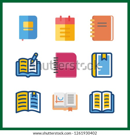 9 publication icon. Vector illustration publication set. open book and notebook icons for publication works