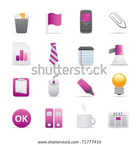 10 Purple Office Icons Professional vector set for your website, application, or presentation. The graphics can easily be edited color individually and be scaled to any size