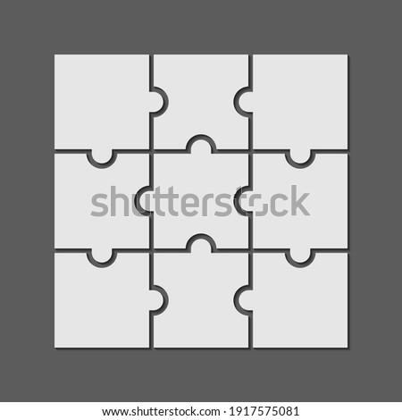9 puzzle piece jigsaw concept vector background. 3x3 business puzzle design