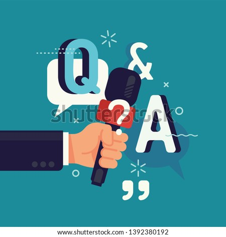 'Q and A' concept vector flat design with abstract hand holding microphone. Question and answers, poll or quiz visual
