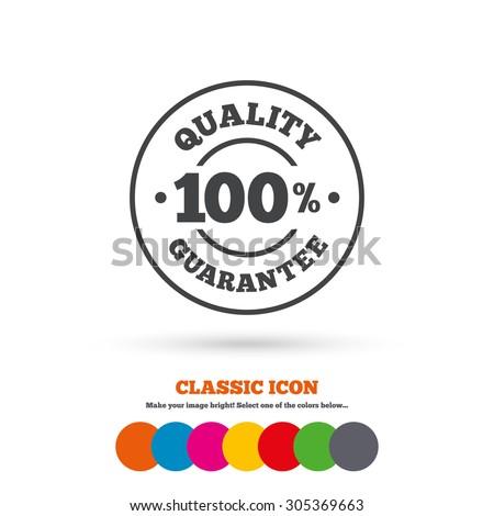 100% quality guarantee sign icon. Premium quality symbol. Classic flat icon. Colored circles. Vector