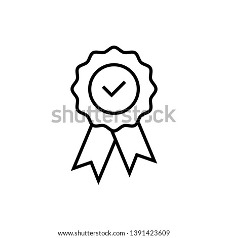 Quality or approved medal with tick. Guaranty certificate medal with approved  check, isolated on white. Approved flat style medal,  isolated vector. Stock photo ©