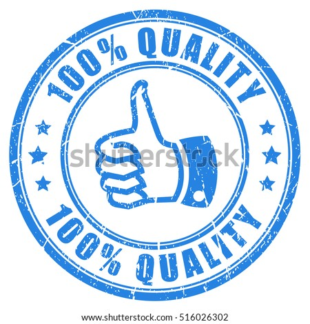 100 quality rubber stamp vector illustration isolated on white background. Quality guarantee stamp. Thumb up quality stamp.