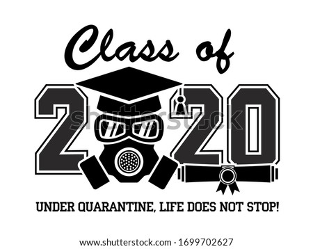 2020 Quarantine graduation party. Graduate in a respirator and goggles. Concept for the design of a greeting card, logo, flyer, t-shirt design. Illustration, vector