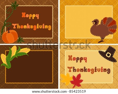 Quilted Thanksgiving postcards (eps10);  jpg version also available