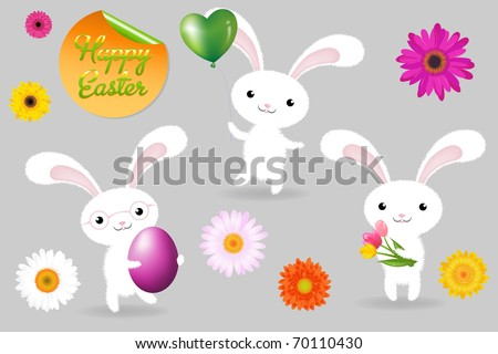 3 Rabbits With Egg, Balloon And Fower, Happy Easter Greeting Card, Vector Illustration - stock vector