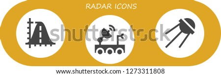 radar icon set. 3 filled radar icons. Simple modern icons about  - Parabola, Satellite dish, Sputnik