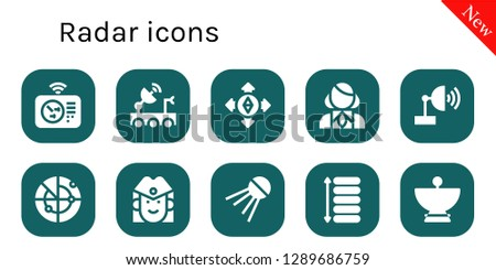 radar icon set. 10 filled radar icons. Simple modern icons about  - Radar, Satellite dish, Destination, Stewardess, Sputnik, Spacing