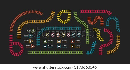 Railroad tracks, subway stations map top view, infographic elements. Railway simple icon set, rail track direction, train tracks colorful vector illustrations on black backgroud, colorful stairs.