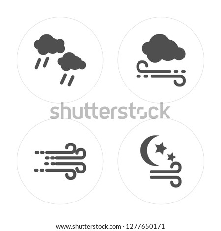 4 Rain, Windy, Windy modern icons on round shapes, vector illustration, eps10, trendy icon set.