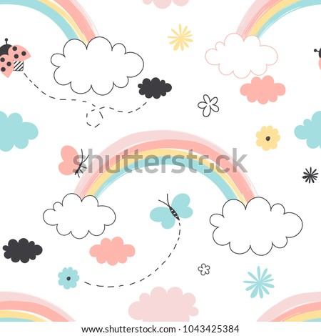 rainbow with clouds seamless